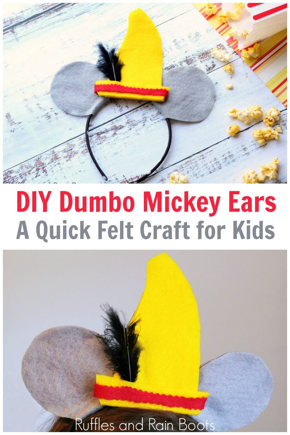 photo collage of Dumbo ears with text which reads DIY Dumbo Mickey ears a quick felt craft