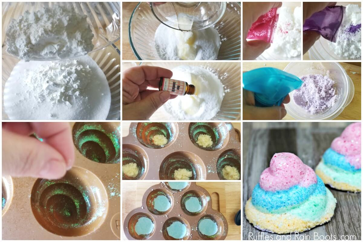 photo collage of how to make a unicorn poop bath bomb