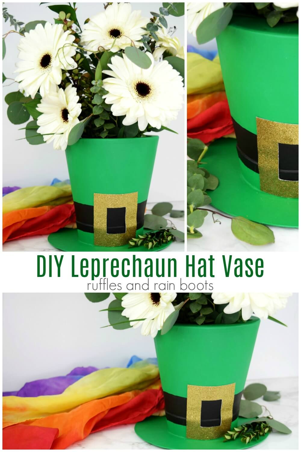 photo collage of St Patricks Day decor with text which reads DIY leprechaun hat vase