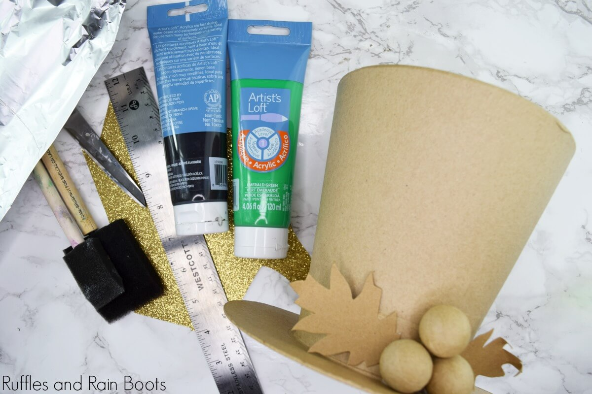 Supplies to make a leprechaun hat vase for st patrick's day
