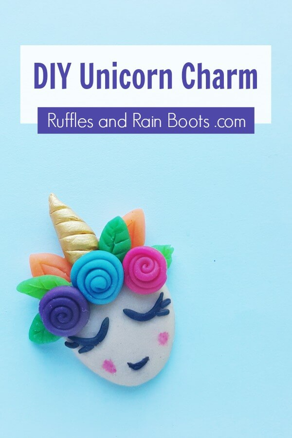 adorable unicorn craft on blue background with text which reads diy unicorn clay charm