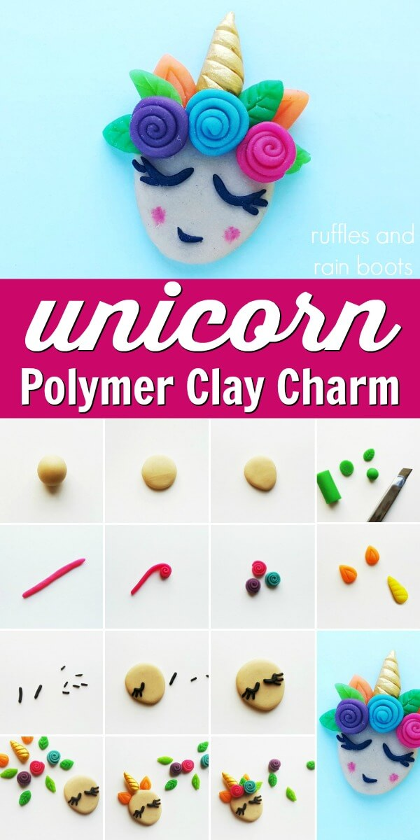 photo collage of unicorn clay charm