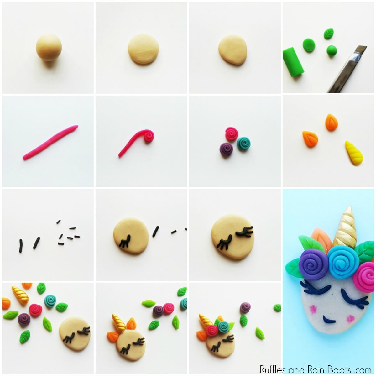 how to make a clay unicorn charm