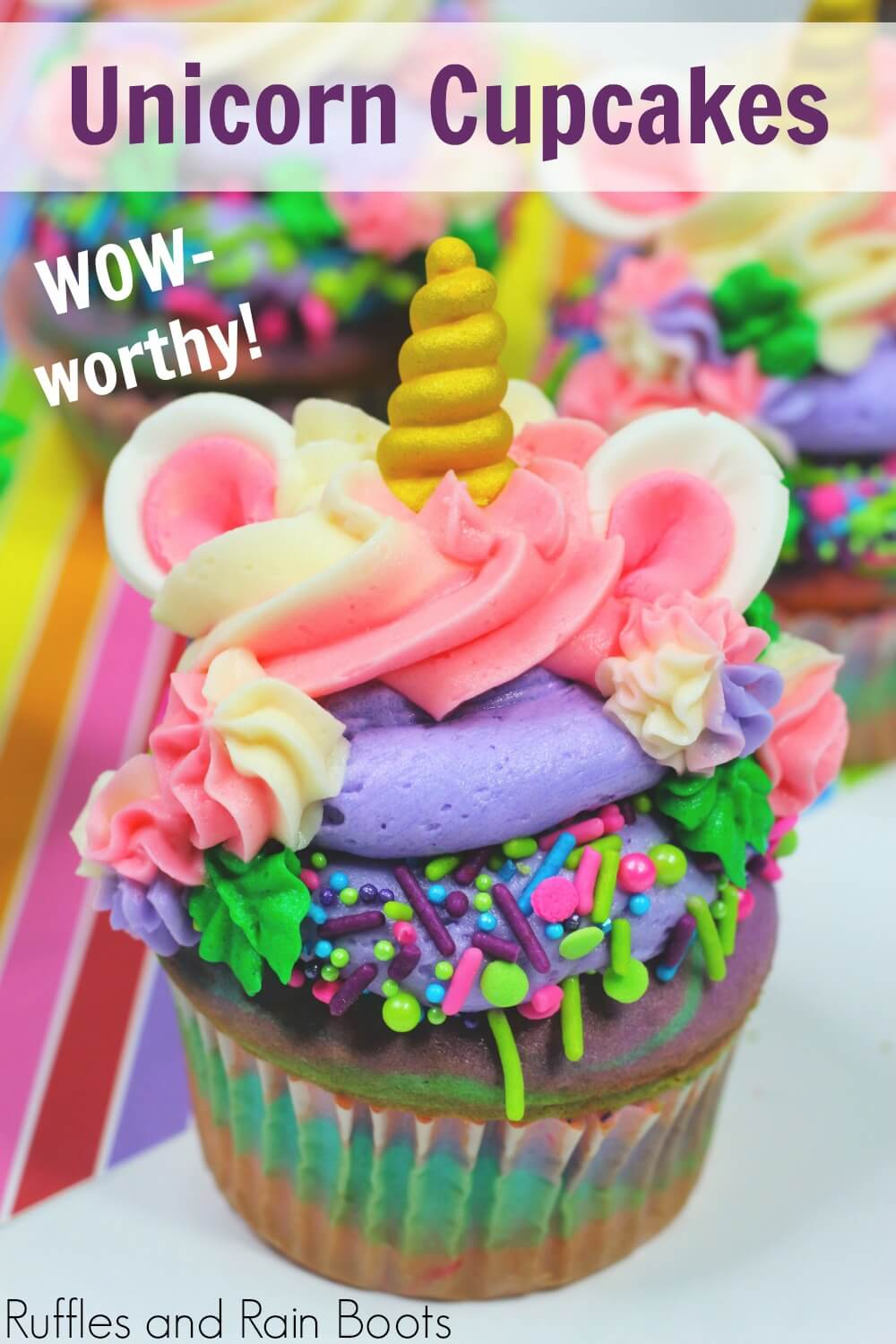 colorful party cupcake idea with text which reads unicorn cupcakes