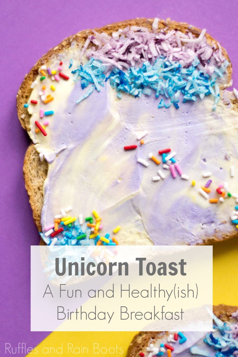colorful healthy breakfast on purple background with text unicorn toast a fun and healthy breakfast