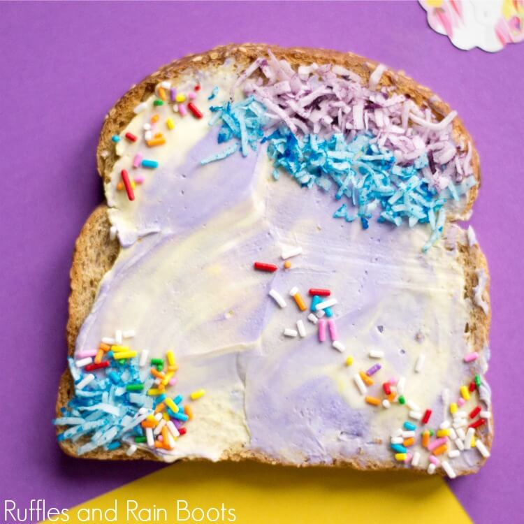 Unicorn Toast on purple background with no text