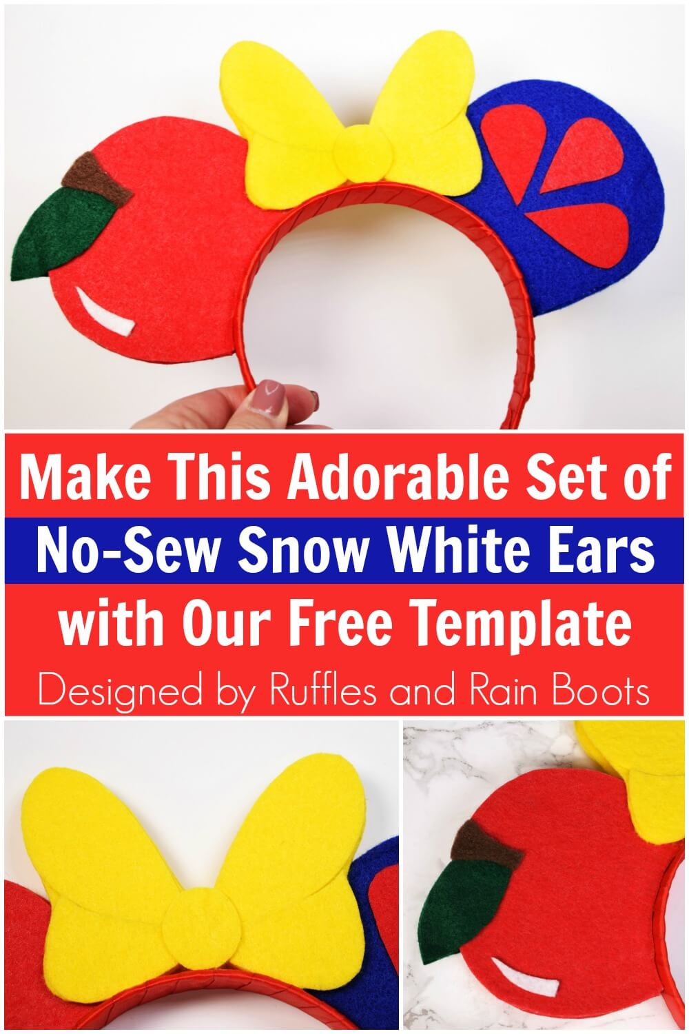 photo collage with text which reads make this adorable set of No sew Snow White ears