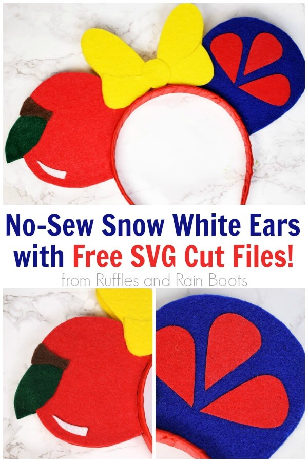 photo collage and close up of disney craft with text which reads no sew snow white ears with free svg cut files