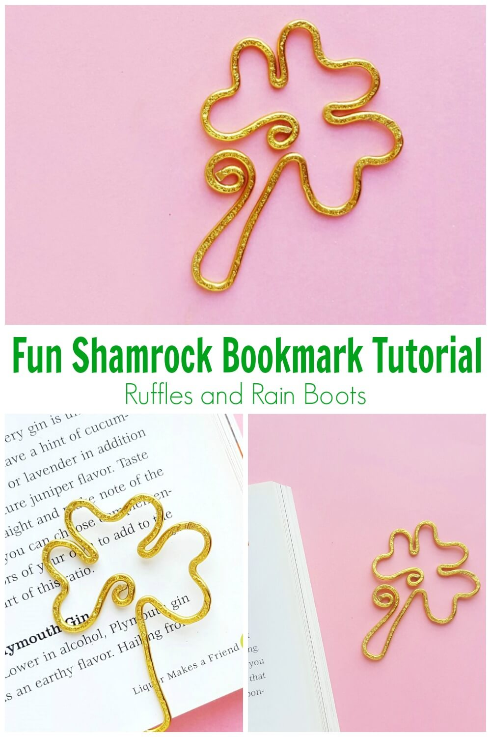 shamrock bookmark on pink background photo collage with text which reads fun shamrock bookmark tutorial