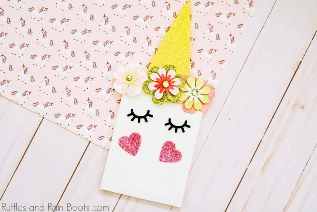 unicorn canvas craft for kids closeup on pink background