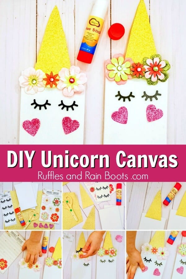 collage of unicorn canvas craft for kids with top showing closeup of two unicorn canvas and bottom showing picture step by step instructions with text DIY unicorn canvas