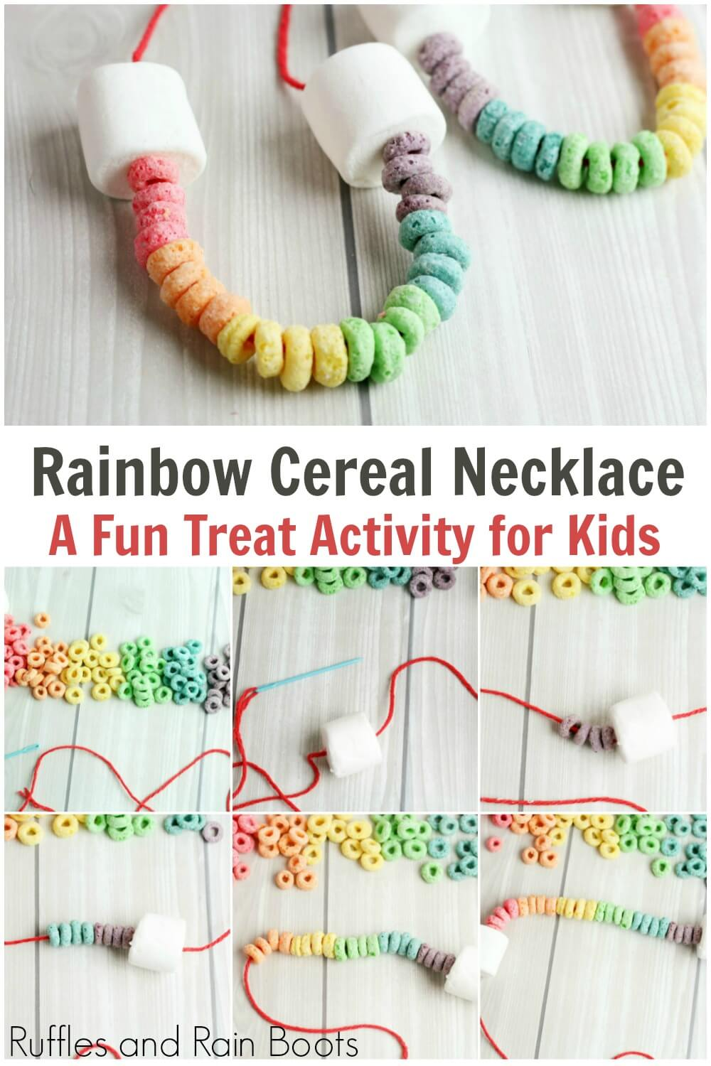 photo collage of st patricks day craft for kids with text which reads rainbow cereal necklace