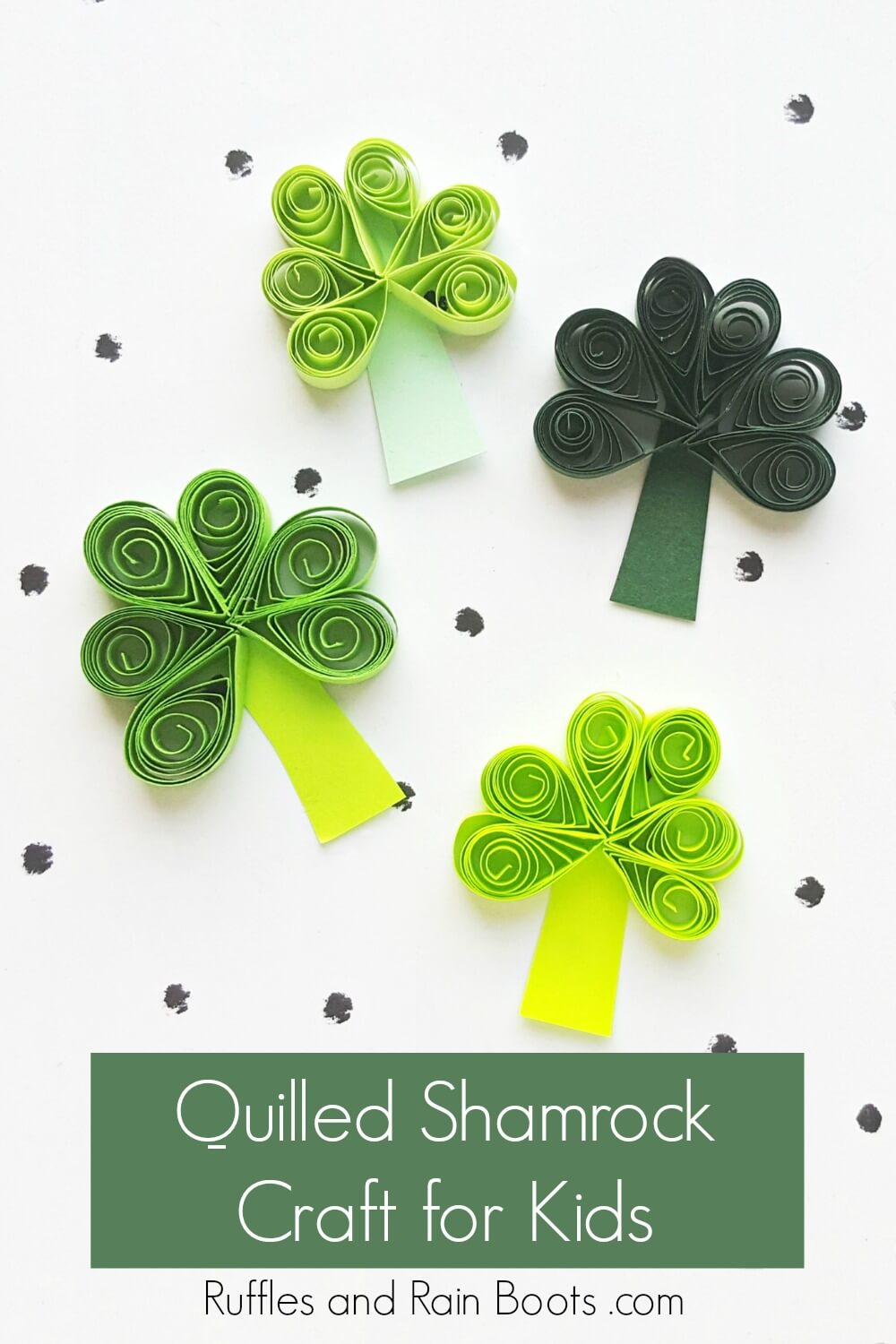 shamrocks on white background with text which reads quilled shamrock craft for kids