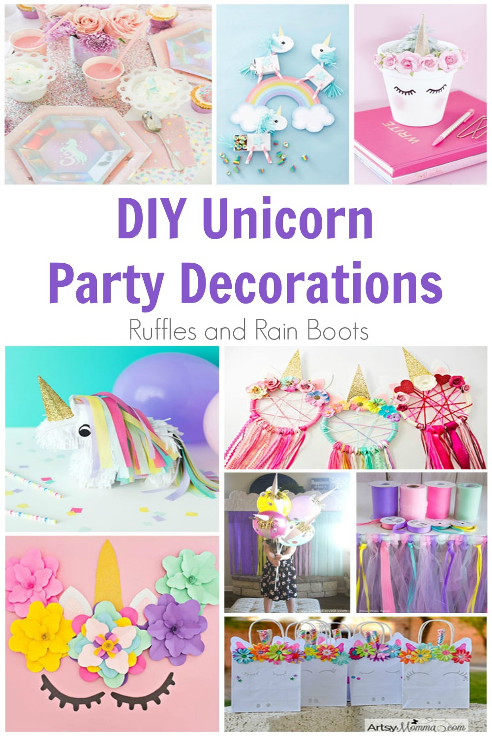 photo collage of various unicorn party decorations with the text DIY Unicorn Party Decorations