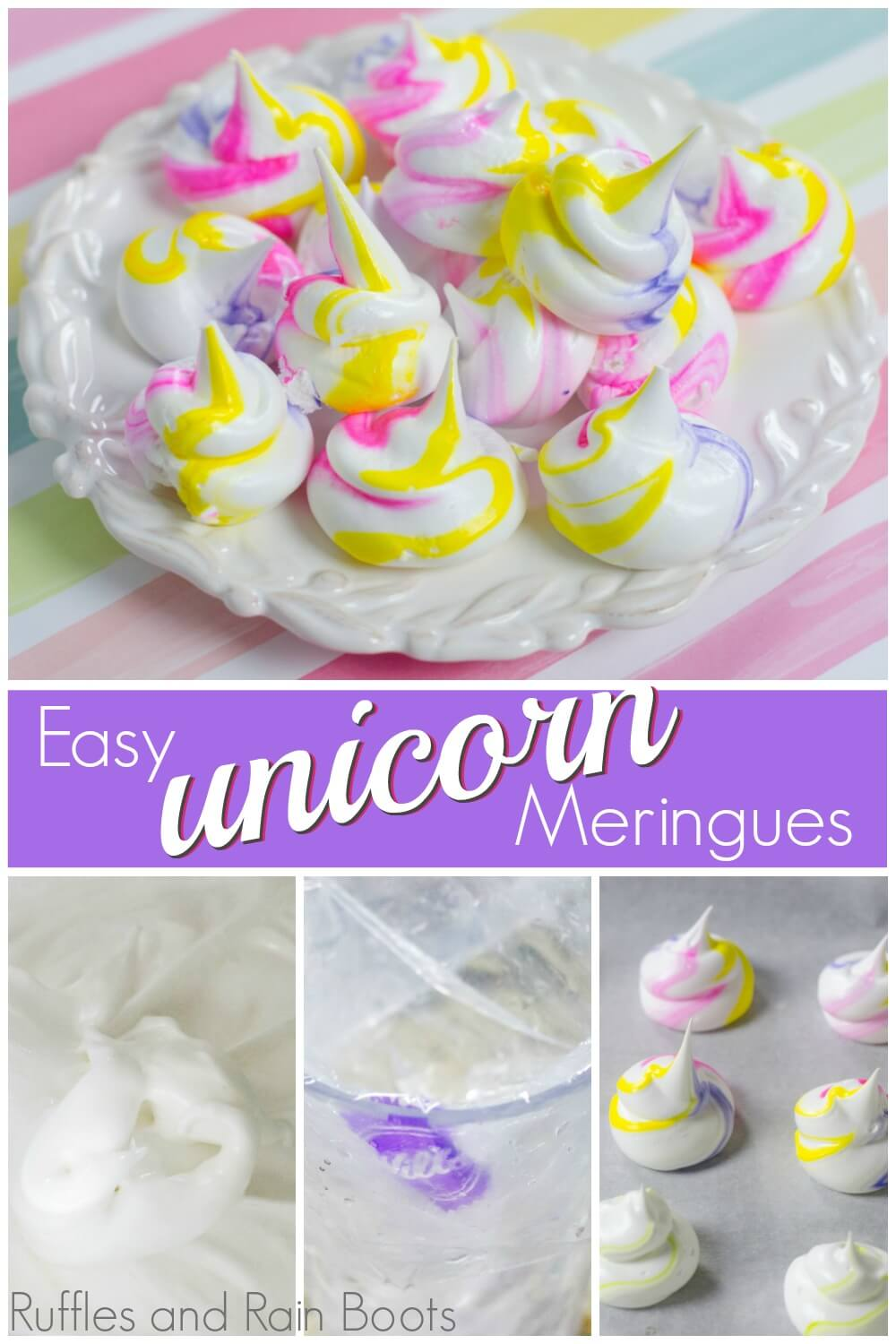 photo collage showing close up of unicorn meringues and step by step pictures of ingredients with text East unicorn meringues