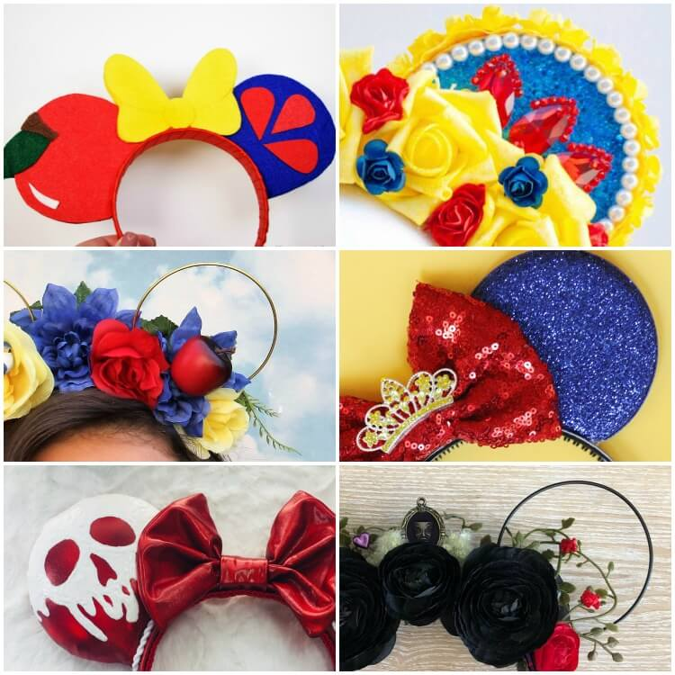 square photo collage of the best snow white Micky ear headbands