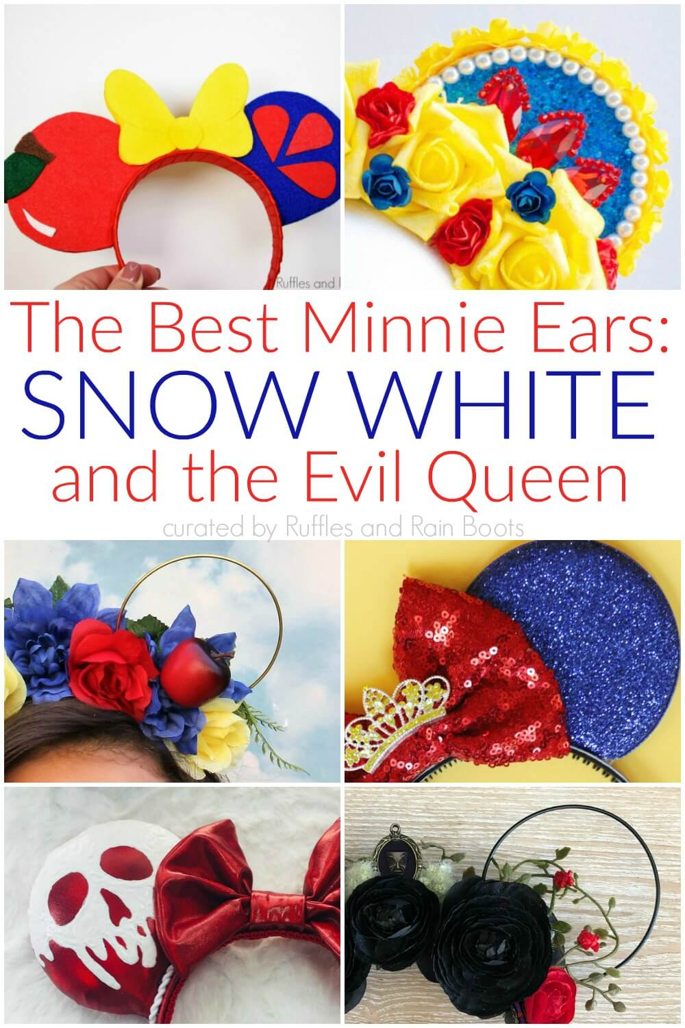 colorful collage of the most creative and best snow white minnie ears and evil queen mickey ears
