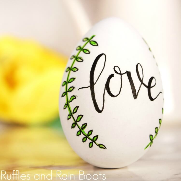 hand lettered egg close up square