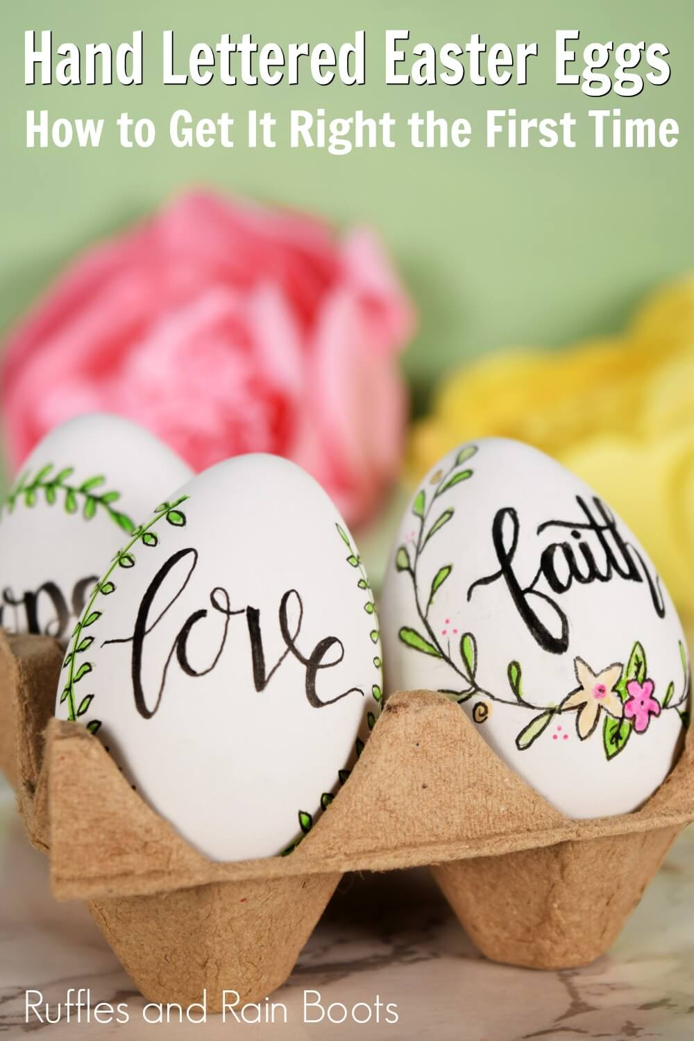 farmhouse Easter decor on green background with text which reads hand lettered easter eggs