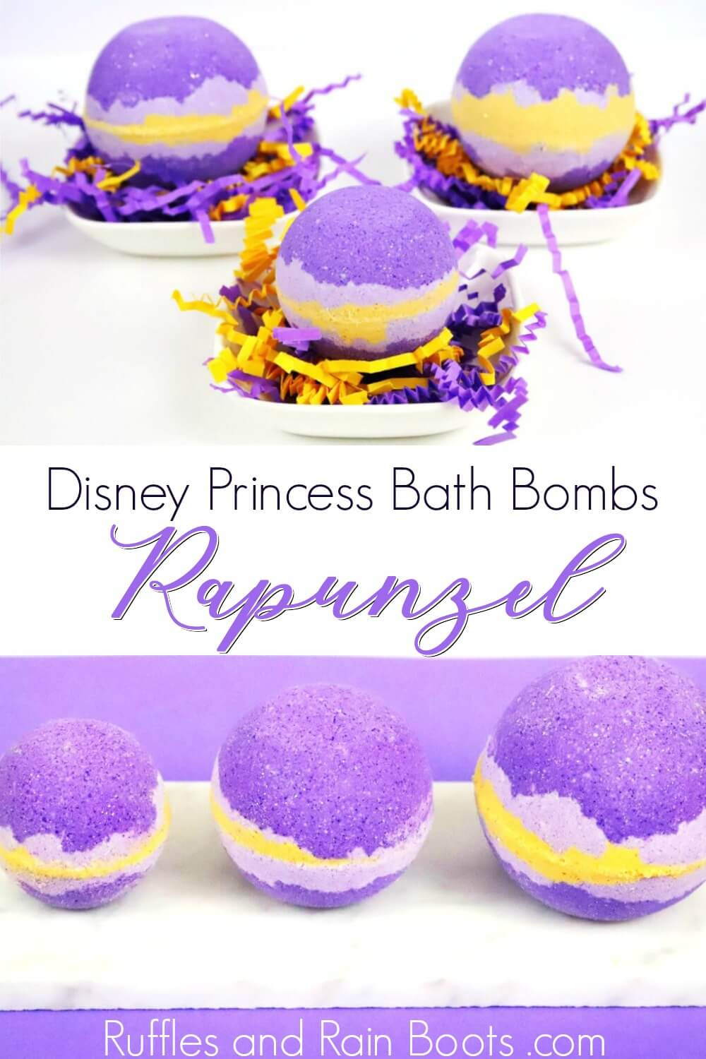 photo collage of purple bath bombs on white background with text which reads Disney princess bath bombs Rapunzel