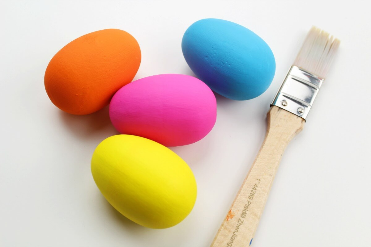brightly colored painted eggs