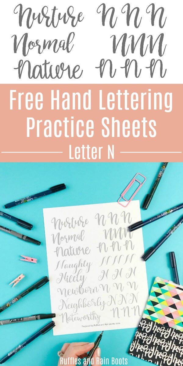 letter n practice sheets on blue background with lettering pens