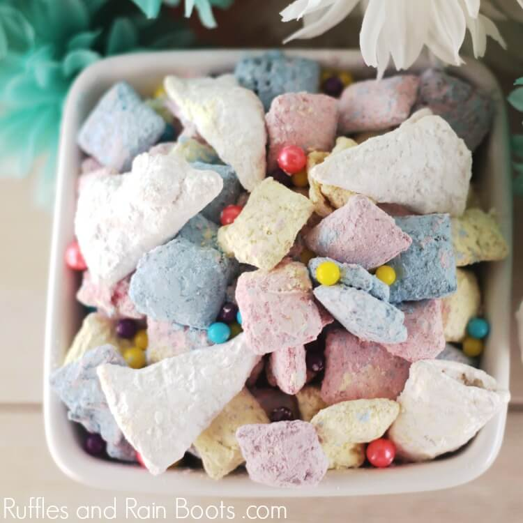 unicorn puppy chow in white bowl on table