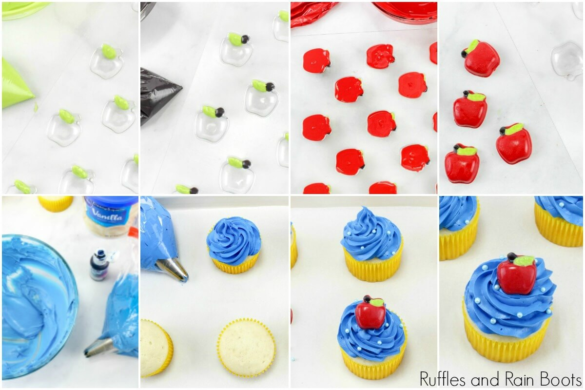 photo collage of how to make Snow White cupcakes