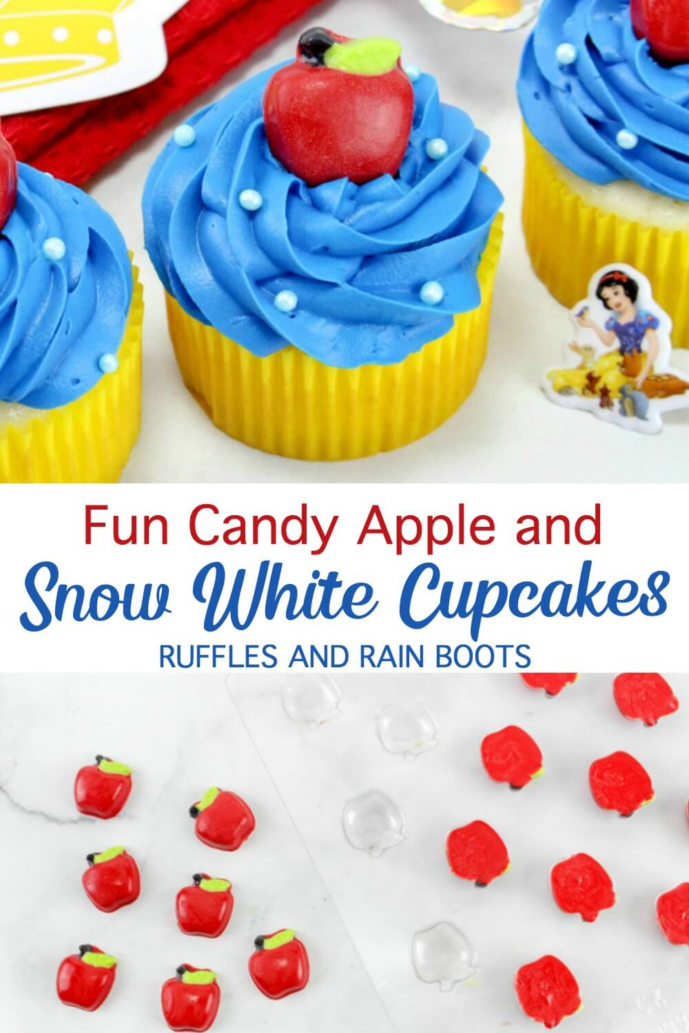 photo collage of candy apples and blue cupcakes on white background with text which reads snow white cupcakes