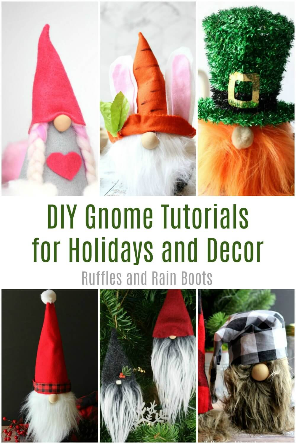 photo collage of adorable gnomes with text which reads diy gnome tutorials for holidays and decor