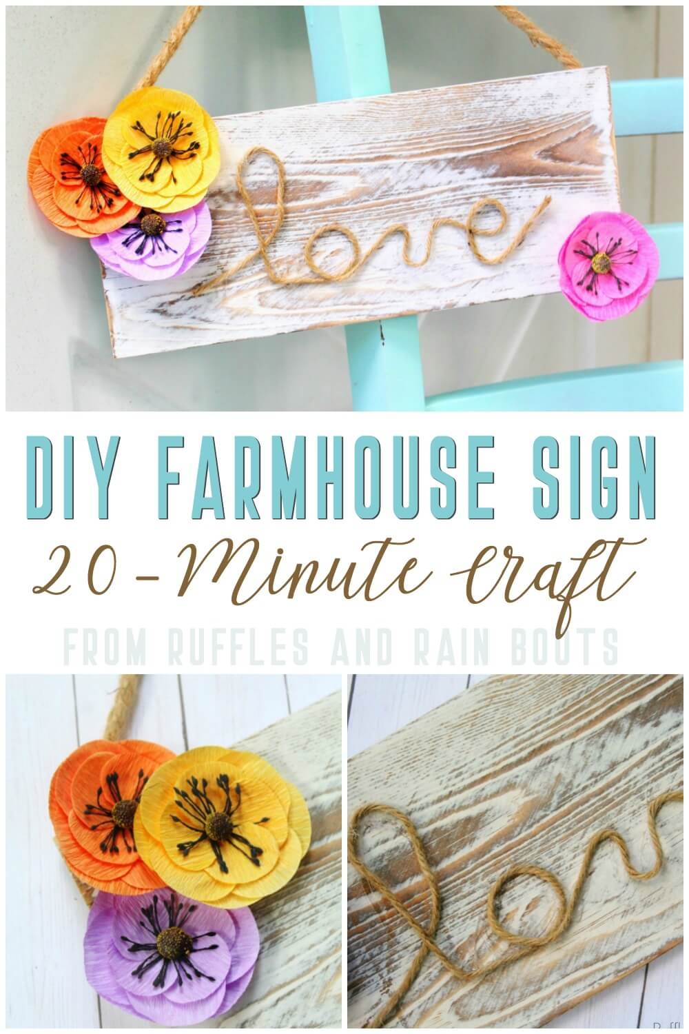 photo collage of farmhouse craft idea of the farmhouse sign for spring with text which reads DIY Farmhouse Sign 20-Minute Craft