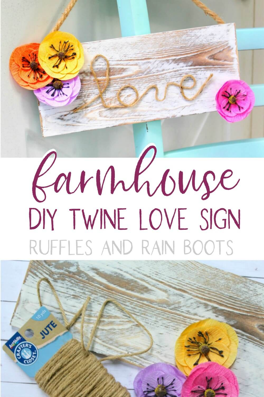photo collage of farmhouse sign for spring for a spring farmhouse with text which reads farmhouse DIY twine love sign