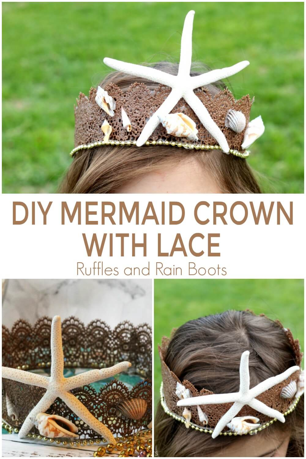 photo collage of how to make a Mermaid Crown for Costumes or Dressup with text which reads DIY Mermaid Crown with Lace