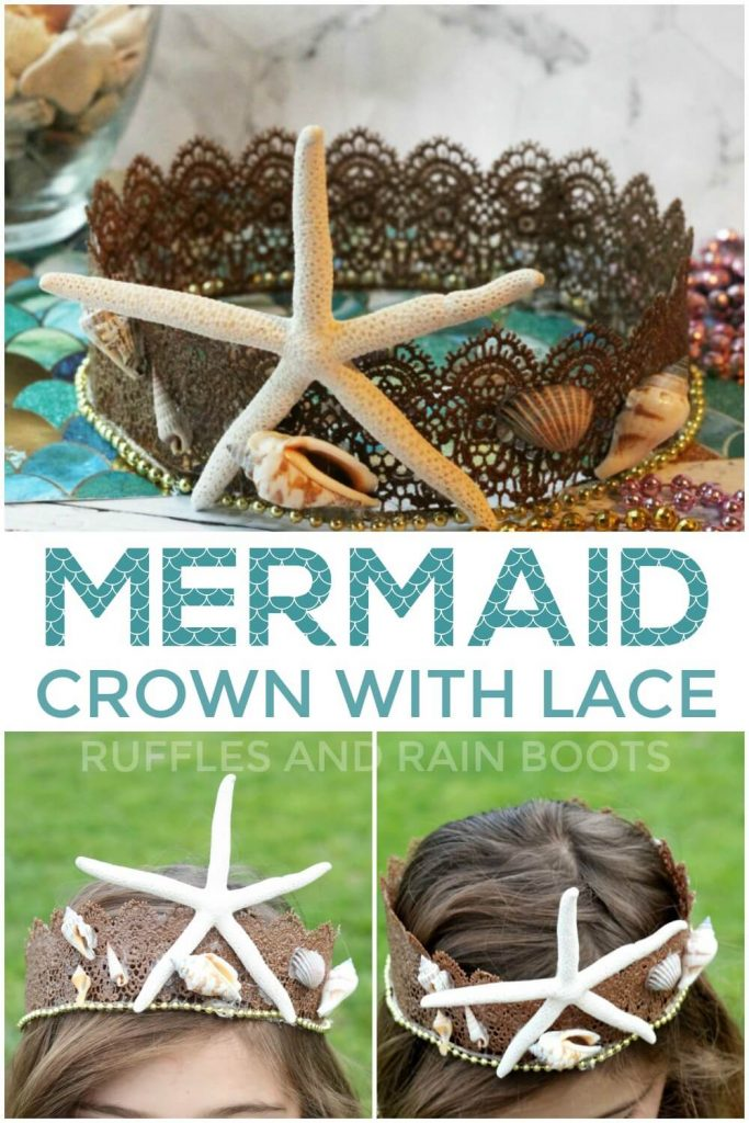 photo collage of the Mermaid Crown for Costumes or Dressup with text which reads Mermaid Crown with Lace