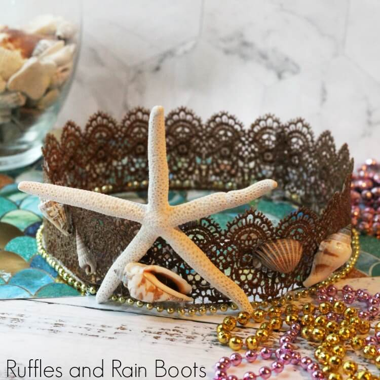 Mermaid Crown for Costumes or Dressup with a starfish and shells on a white background