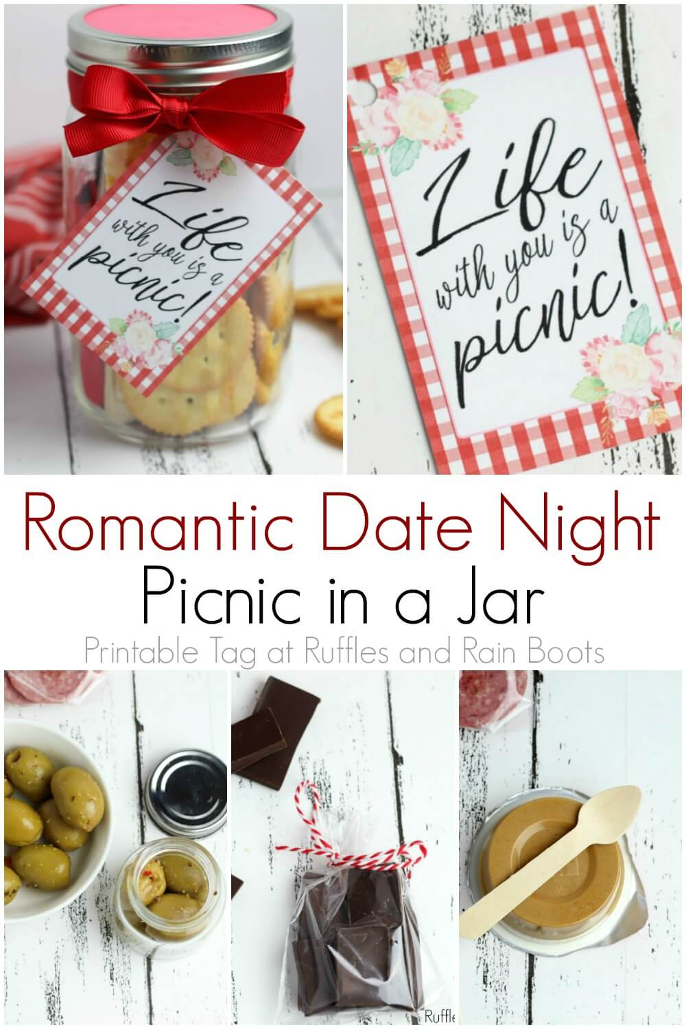 photo collage of picnic date night in a jar craft with text which reads romantic date night picnic in a jar