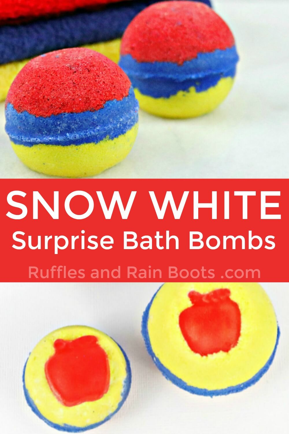 photo collage of snow white bath bombs with text which reads snow white surprise bath bombs