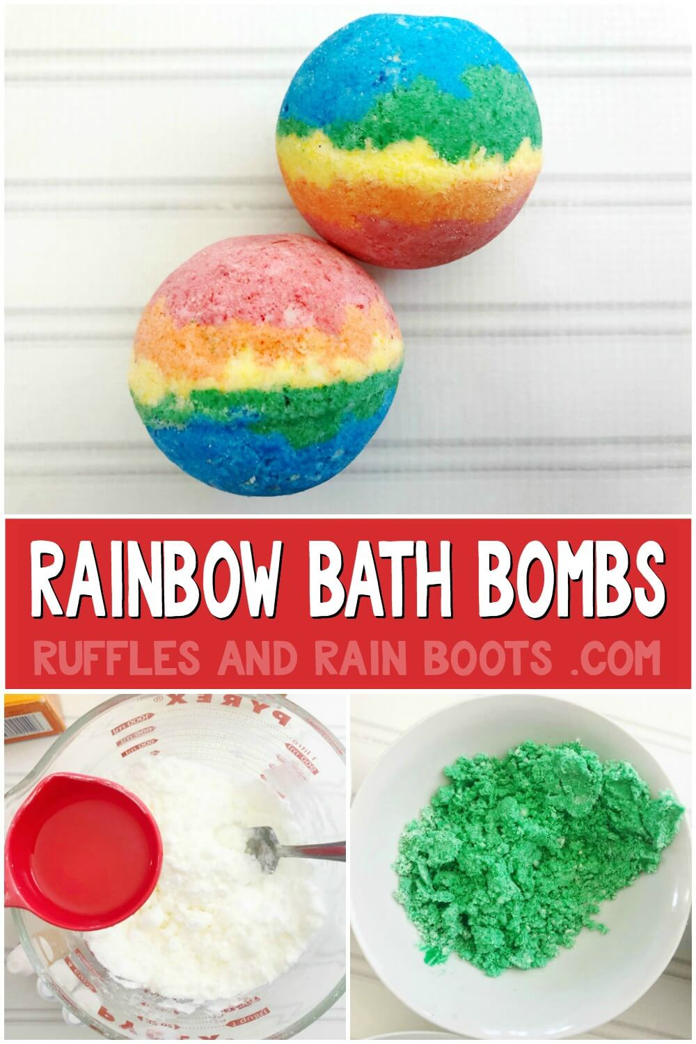 photo collage of how to make rainbow bath bombs and finished rainbow bath bombs with text which reads rainbow bath bombs