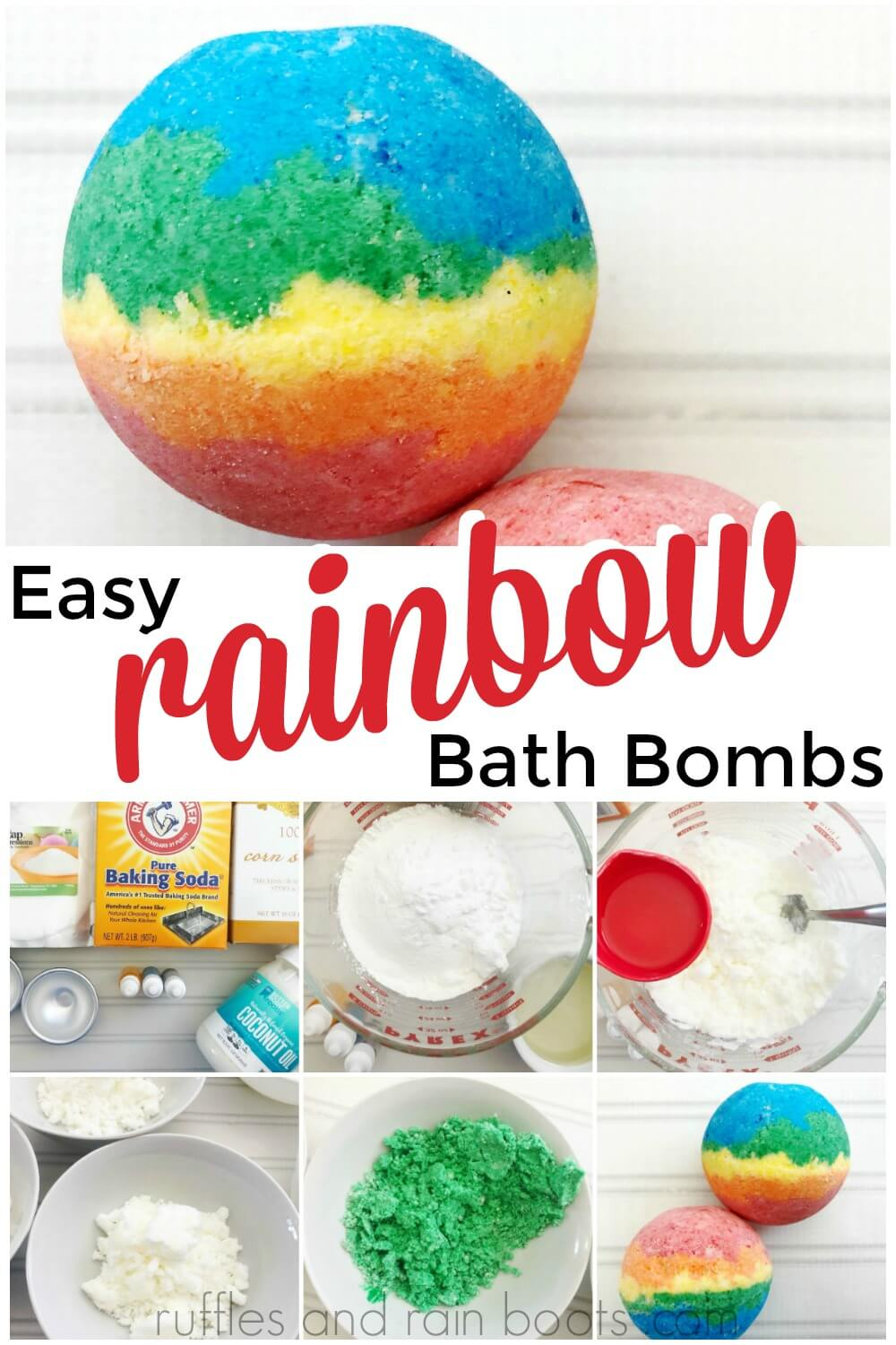 photo collage of how to make rainbow bath bombs and finished rainbow bath bomb with text which reads easy rainbow bath bombs