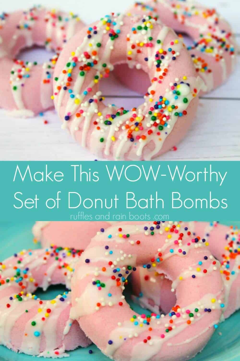 photo collage of donut bath bombs with text make this wow-worthy set of donut bath bombs