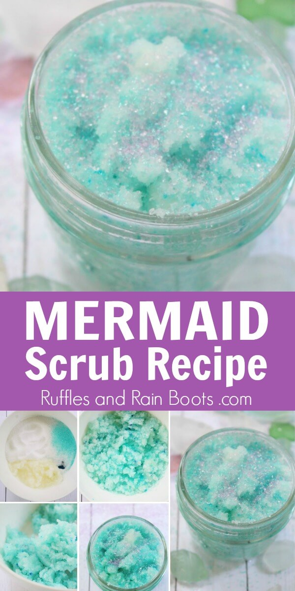 photo collage of how to make mermaid foot scrub and final product with text which reads mermaid scrub recipe