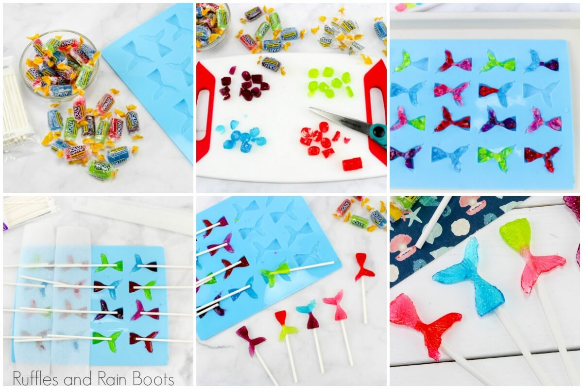 how to make mermaid tail lollipops photo tutorial collage