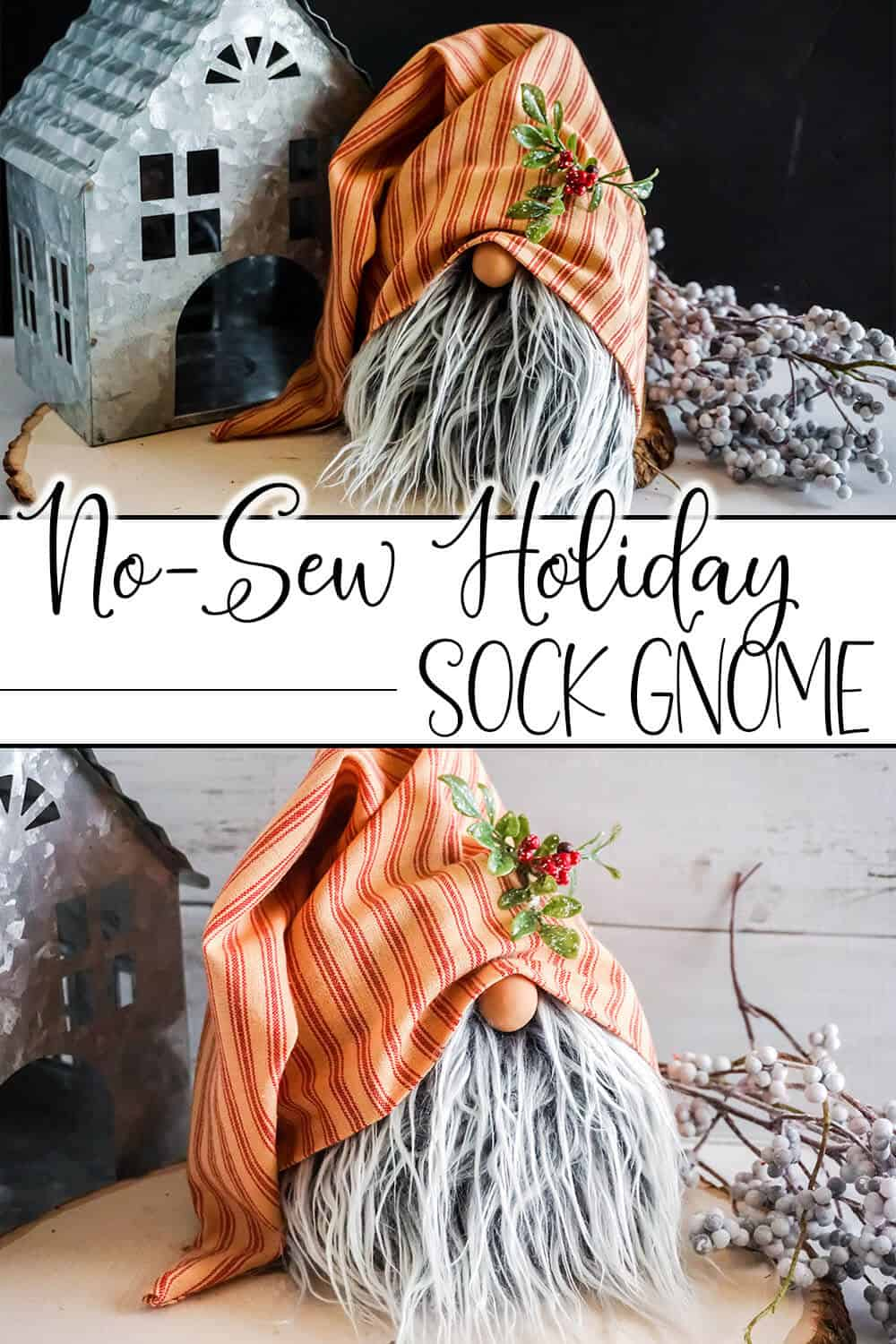 photo collage of tiered tray gnome you can make with text which reads no-sew holiday sock gnome