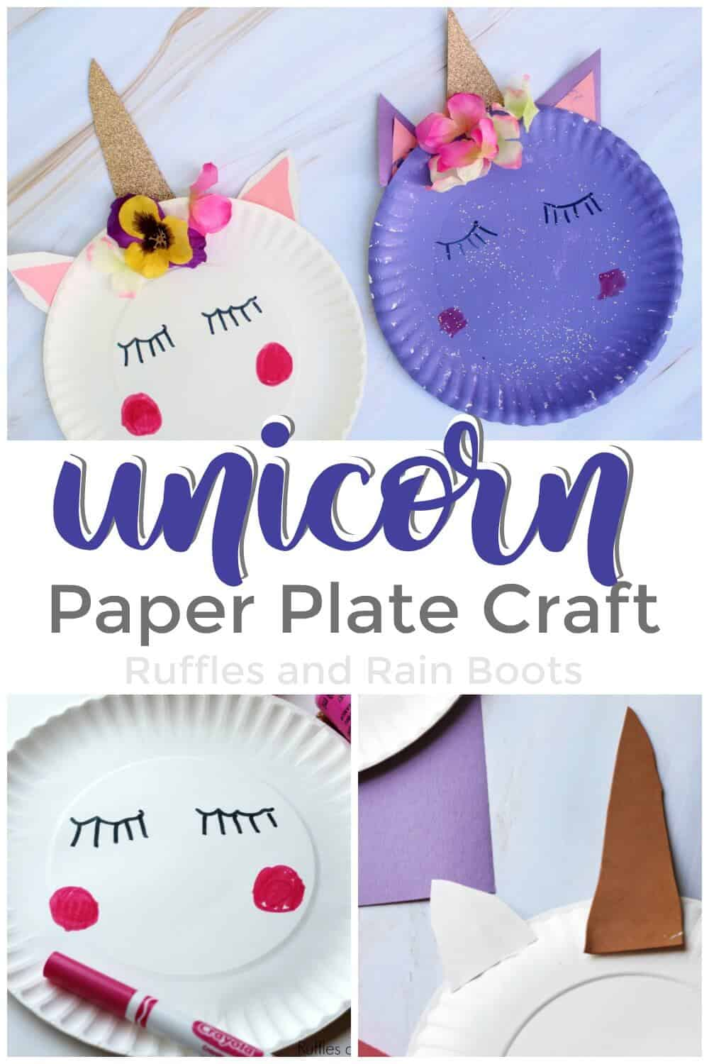 photo collage of completed white and purple unicorn paper plate craft on top and picture instructions on Botton with text Unicorn Paper Plate Craft