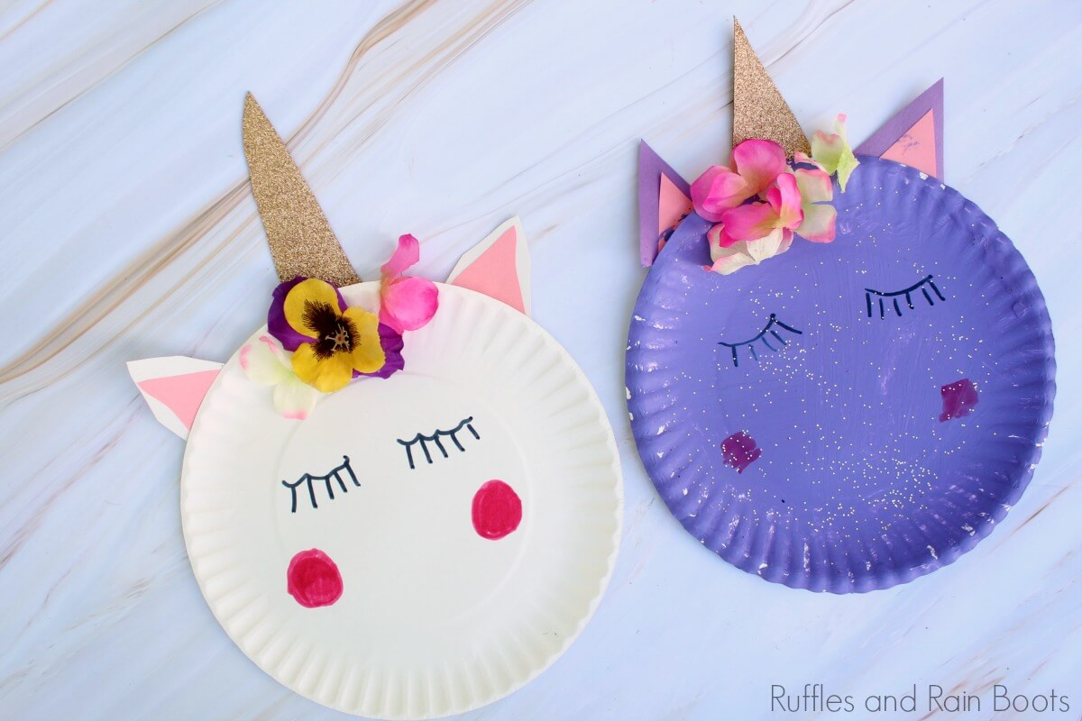unicorn paper plate craft close up with white and purple plate on white background