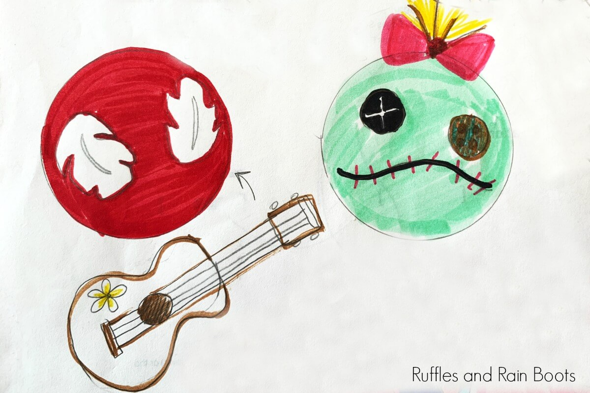 sketch of Lilo and Scrump SVG cut files for Mickey Mouse ears