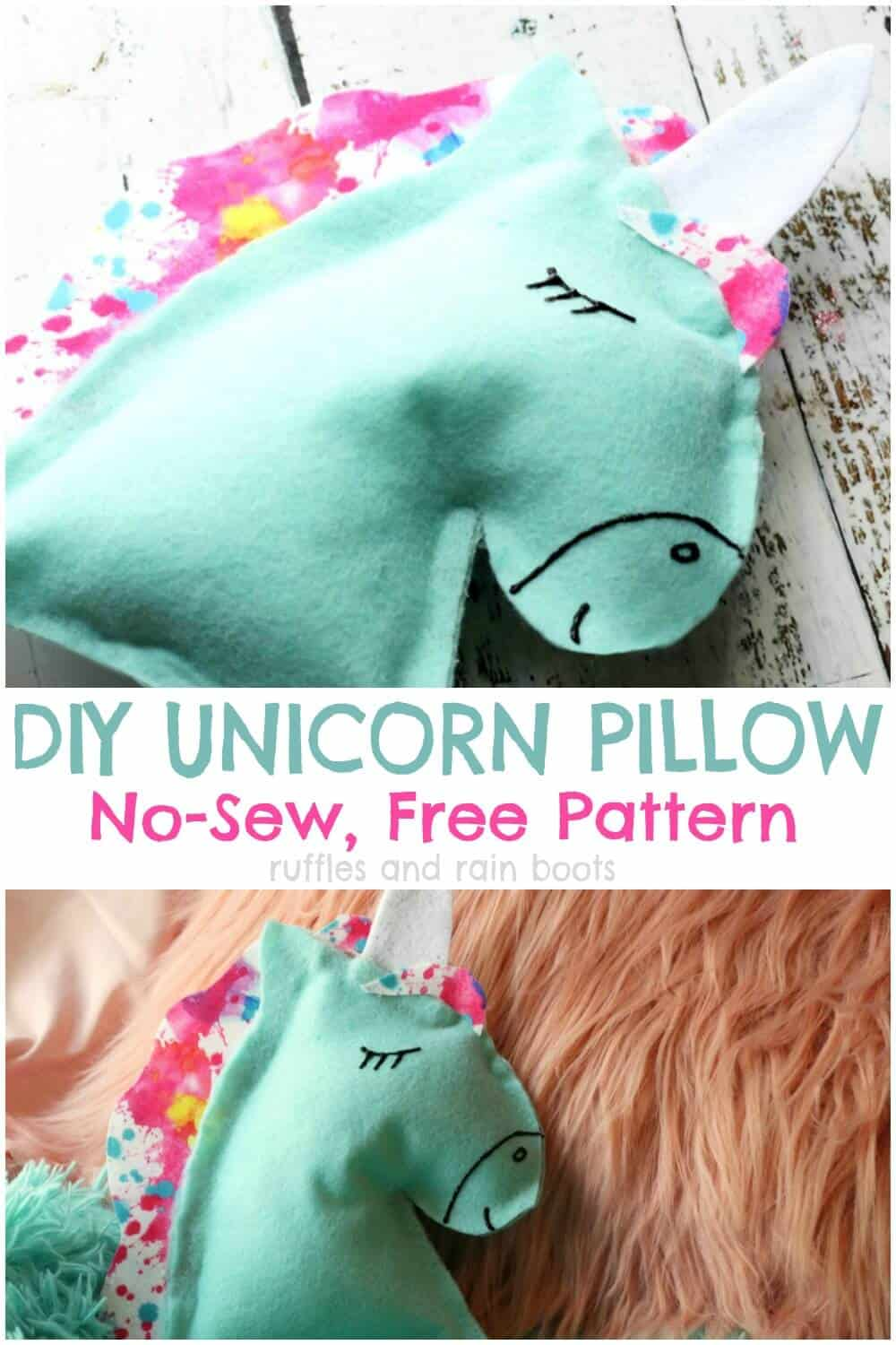 photo collage of unicorn pillow on two difference surfaces with text DIY unicorn pillow no sew, free pattern
