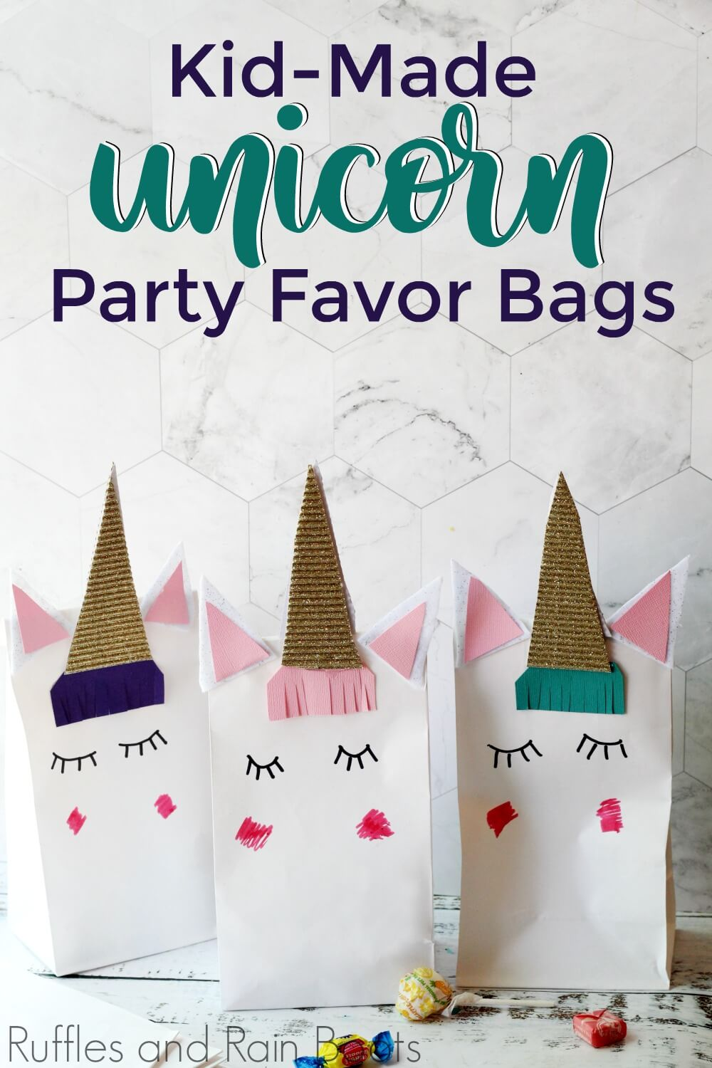 close up of three unicorn favor bag crafts with text kid-made unicorn party favor bags