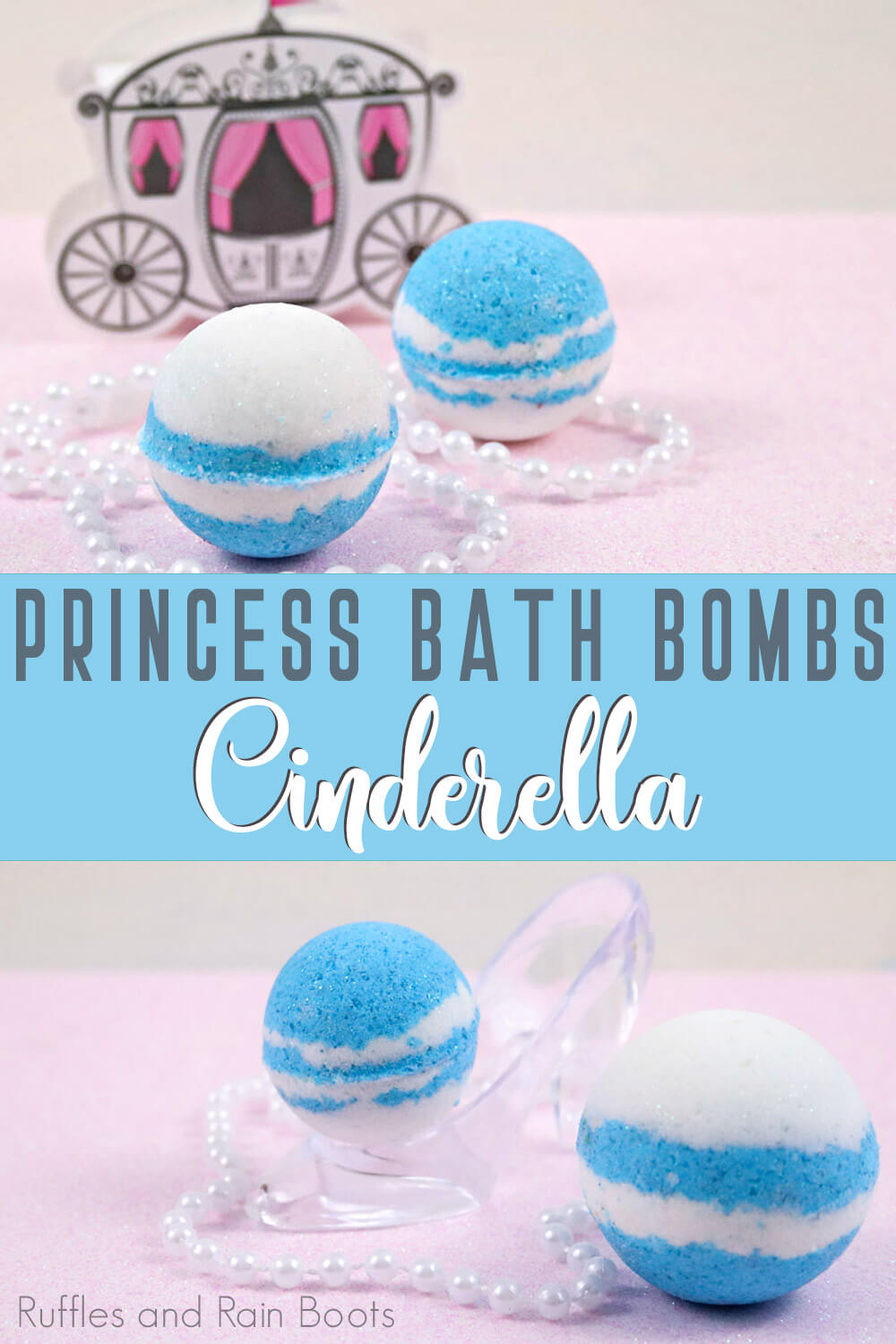 photo collage of cinderella bath bombs with blue and white colors with text which reads princess bath bombs cinderella