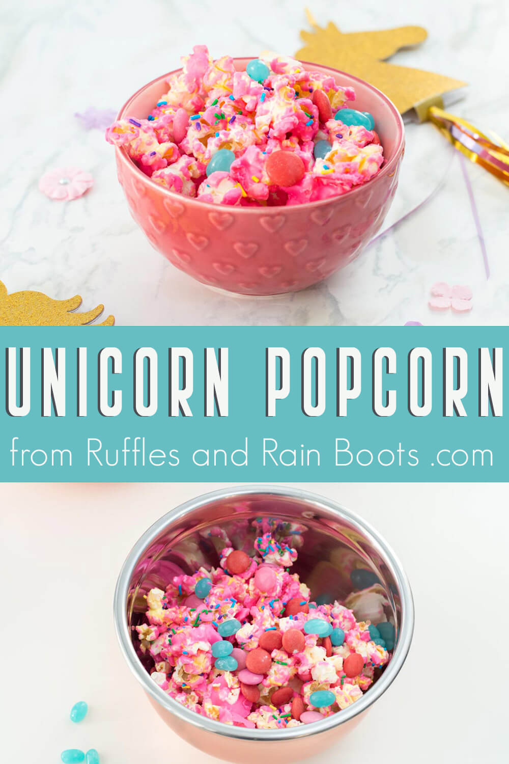 photo collage of unicorn party popcorn recipe for dessert bar with text which reads unicorn popcorn